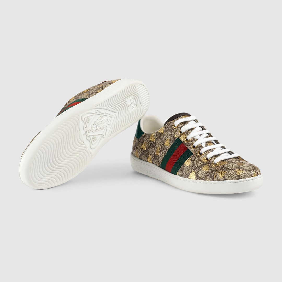19a01086626 Beige Ebony Ace GG Supreme sneaker with bees