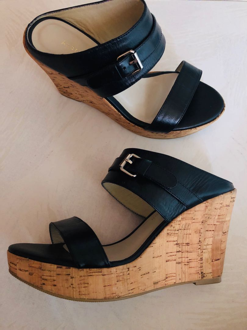 28e147c1d742e Black Andre Valentino Wedges with faux strap buckle, Women's Fashion ...