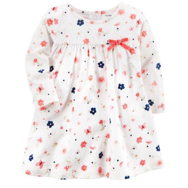 a2d4f61a4 BN Carter's Baby Girl Floral Long Sleeves Jersey Dress with diaper ...