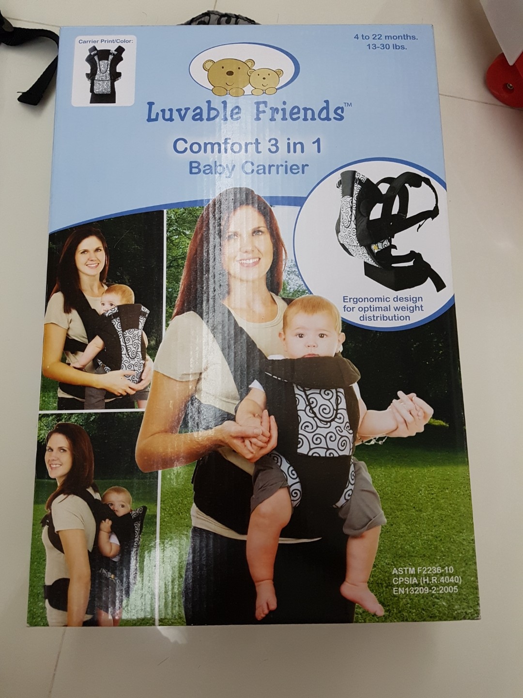 19117228855 BN Luvable Friends comfort 3 in 1 baby carrier