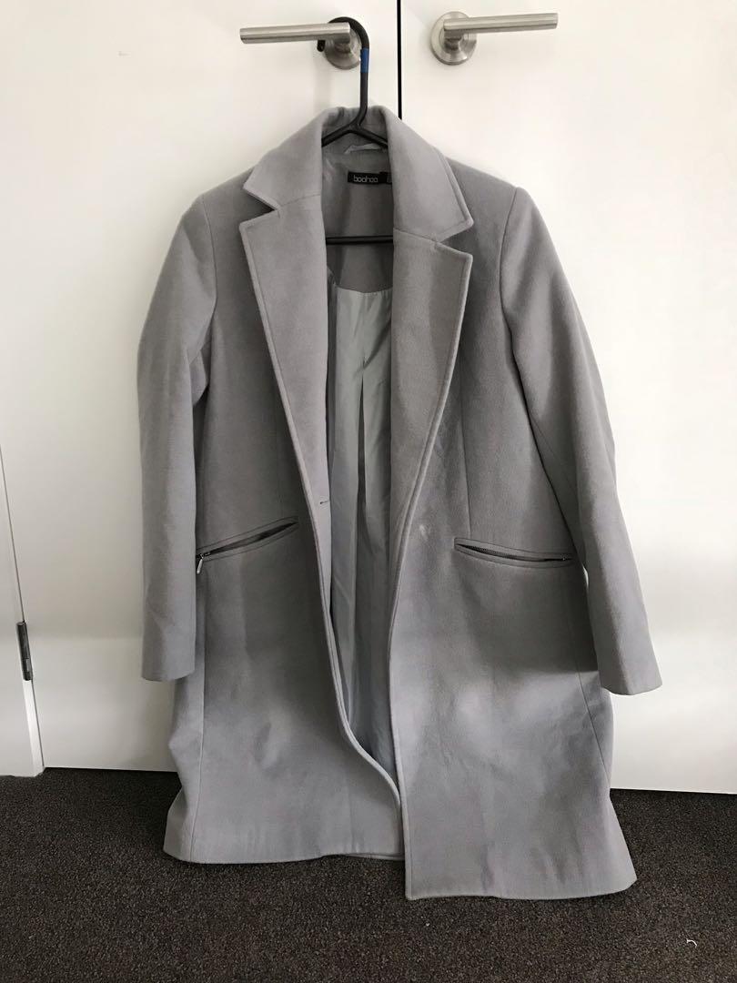 Boohoo grey coat size 8