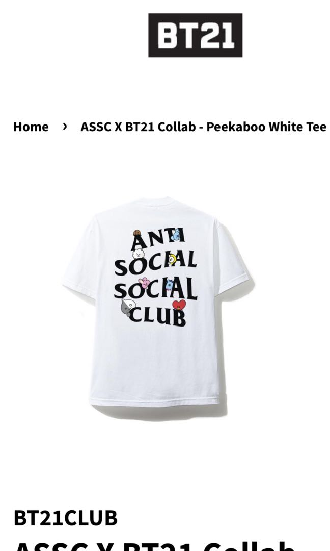 67f4808116d0 BT21 X Anti Social Social Club White tee CHEAPEST IN TOWN ...