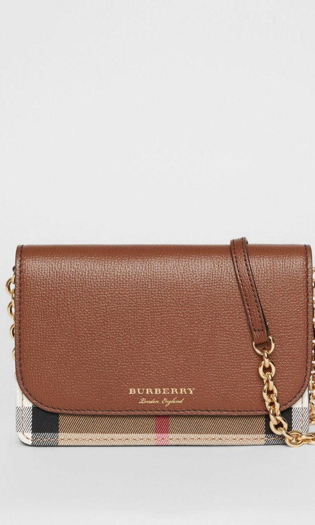 Burberry Leather and House Check Wallet with Detachable Strap ... 18c17e84e1102