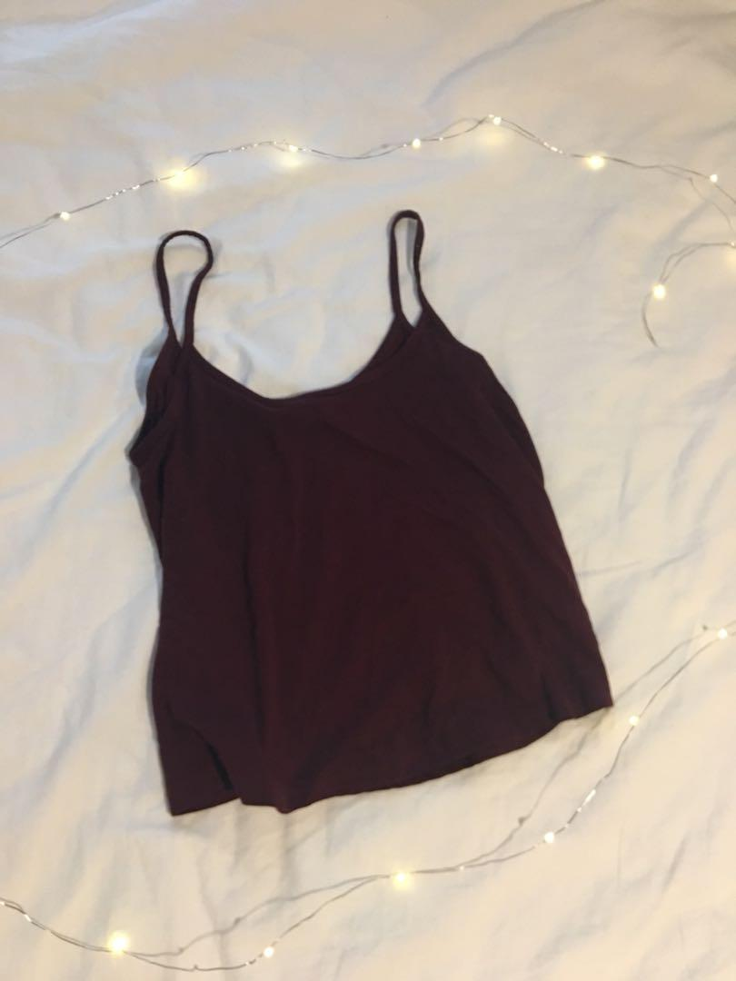 Burgundy crop top tank (flowy)