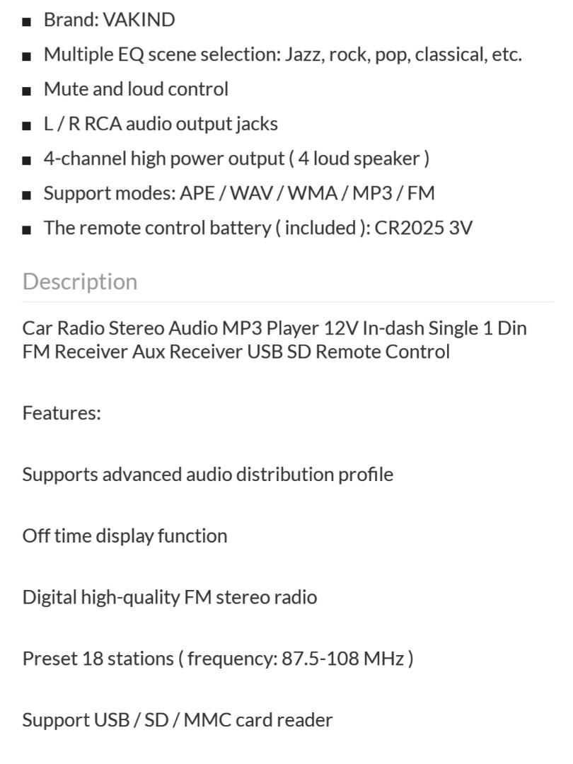 Car Stereo Player with FM Radio, Car Accessories