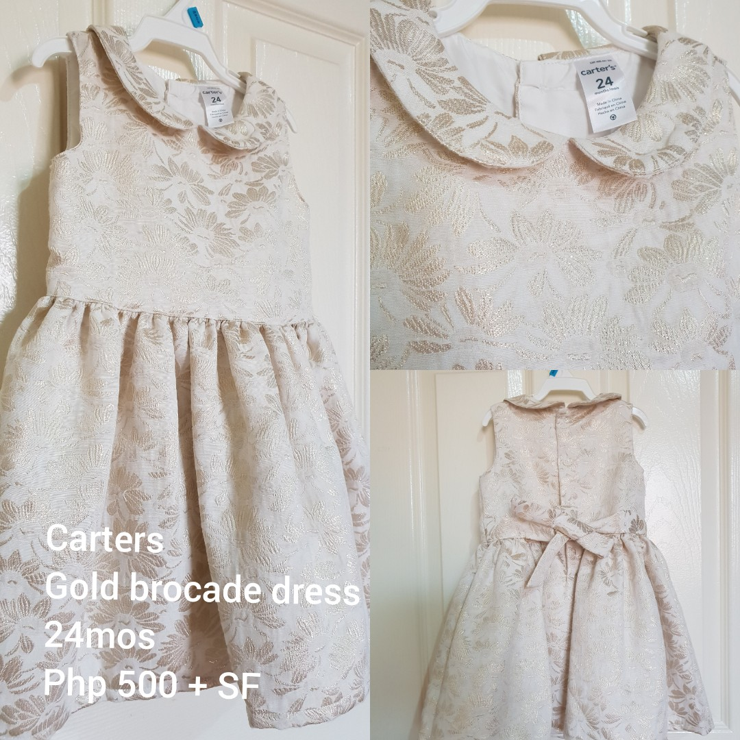 2043caedc03b Carters - White and Gold Brocade Formal dress, Babies & Kids, Girls ...