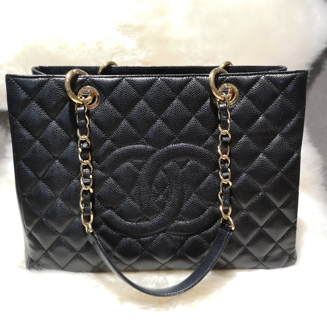 e9a55658a Chanel Black Caviar Leather Quilted Tote Bag (GST), Luxury, Bags ...