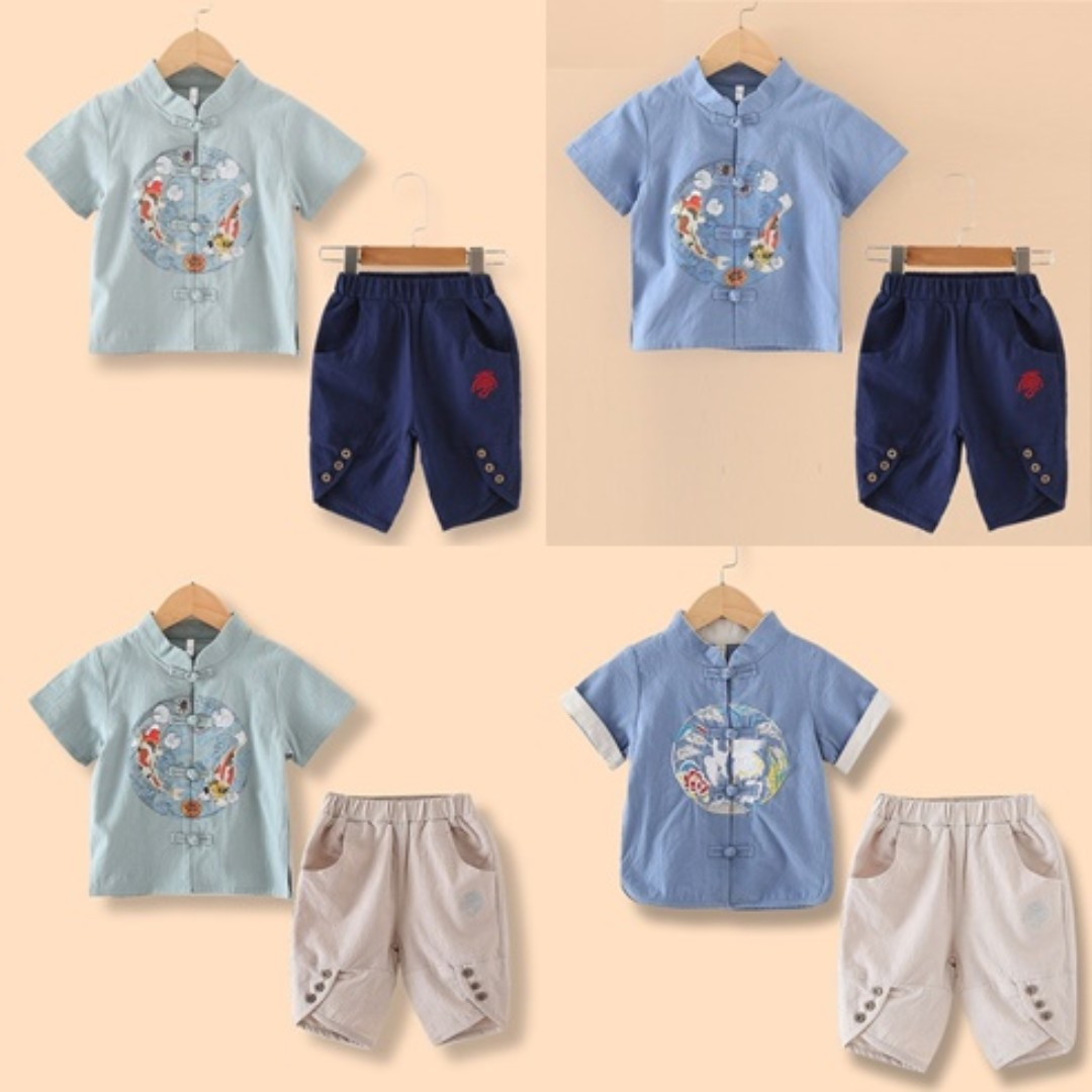 3b446563133c5 CNY1902 - Boy Embroidery 2 Piece Set  Linen