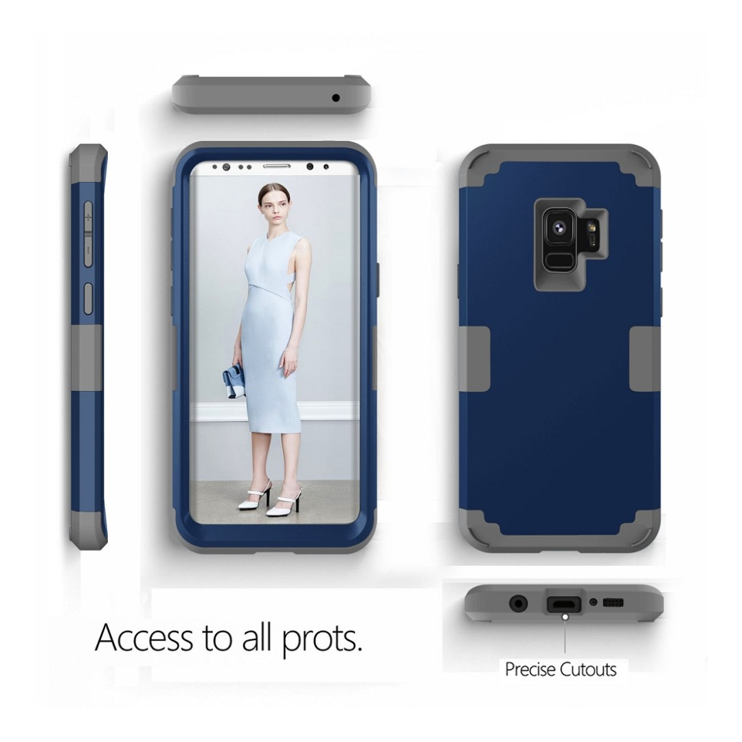 Detachable Hard PC+Soft TPU Back+Front Protector Navy Blue