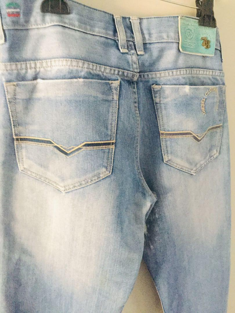 Diesel clothing denim men's jeans button fly cow leather