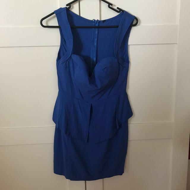 Electric blue party dress with peplum detail
