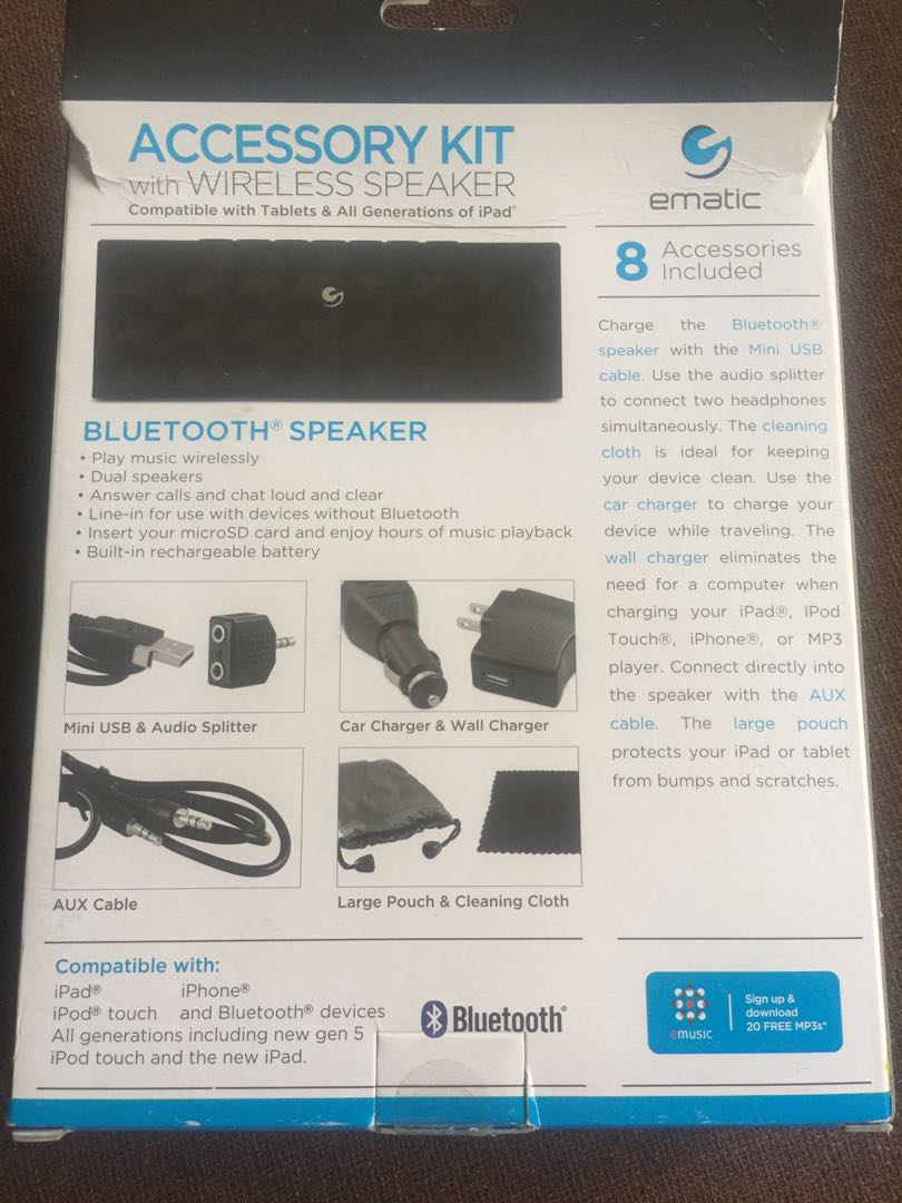 Ematic portable Bluetooth speaker & 8 in 1 universal accessory kit EP205
