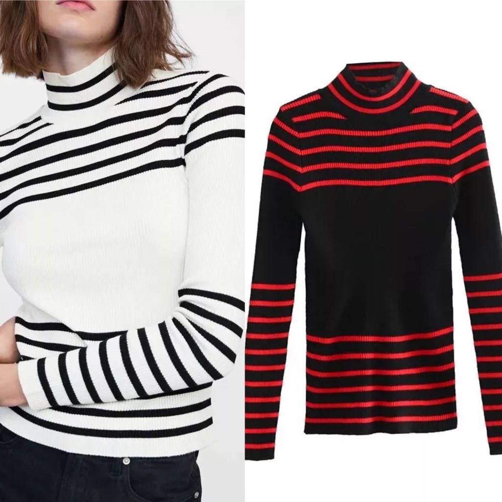 e66292181d European and American striped high collar long sleeve pullover ...