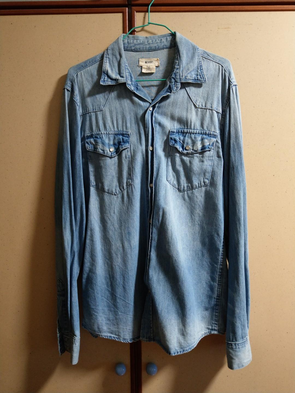 c14ecec99764 H&M Denim Shirt, Men's Fashion, Clothes, Tops on Carousell
