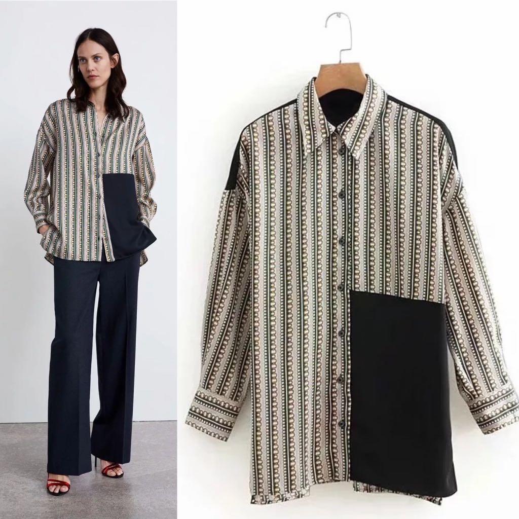 c5b8847f323 💃🏻Inspired Zara Casual Chain Print Loose Long Sleeve Shirt ...