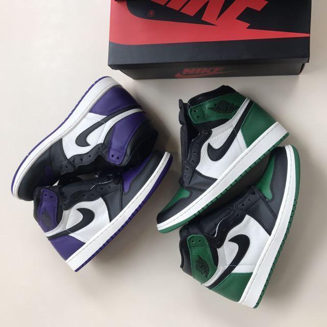 7253d788128685 Nike Air Jordan 1 purple   green