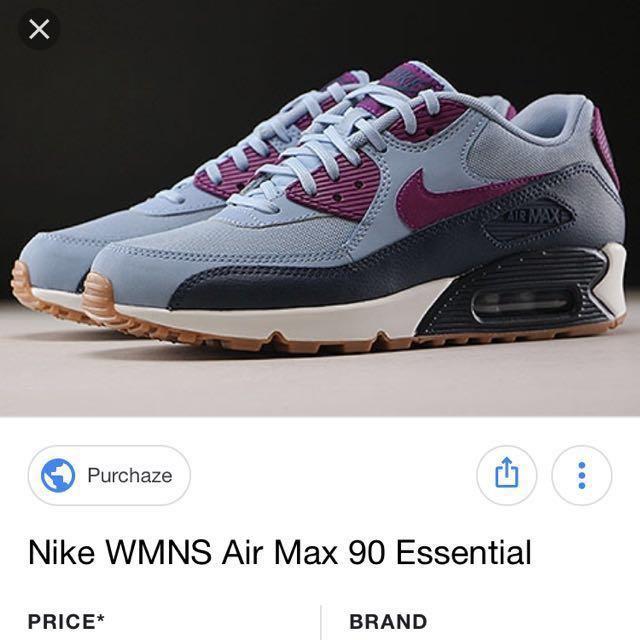 more photos 8871b 747e4 Nike Womens Air Max 90 Essential Blue Gray