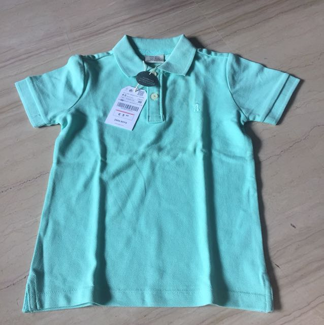 cc2f4b290 NWT Zara Boys polo mint green shirt organic grown cotton, Babies & Kids,  Boys' Apparel on Carousell