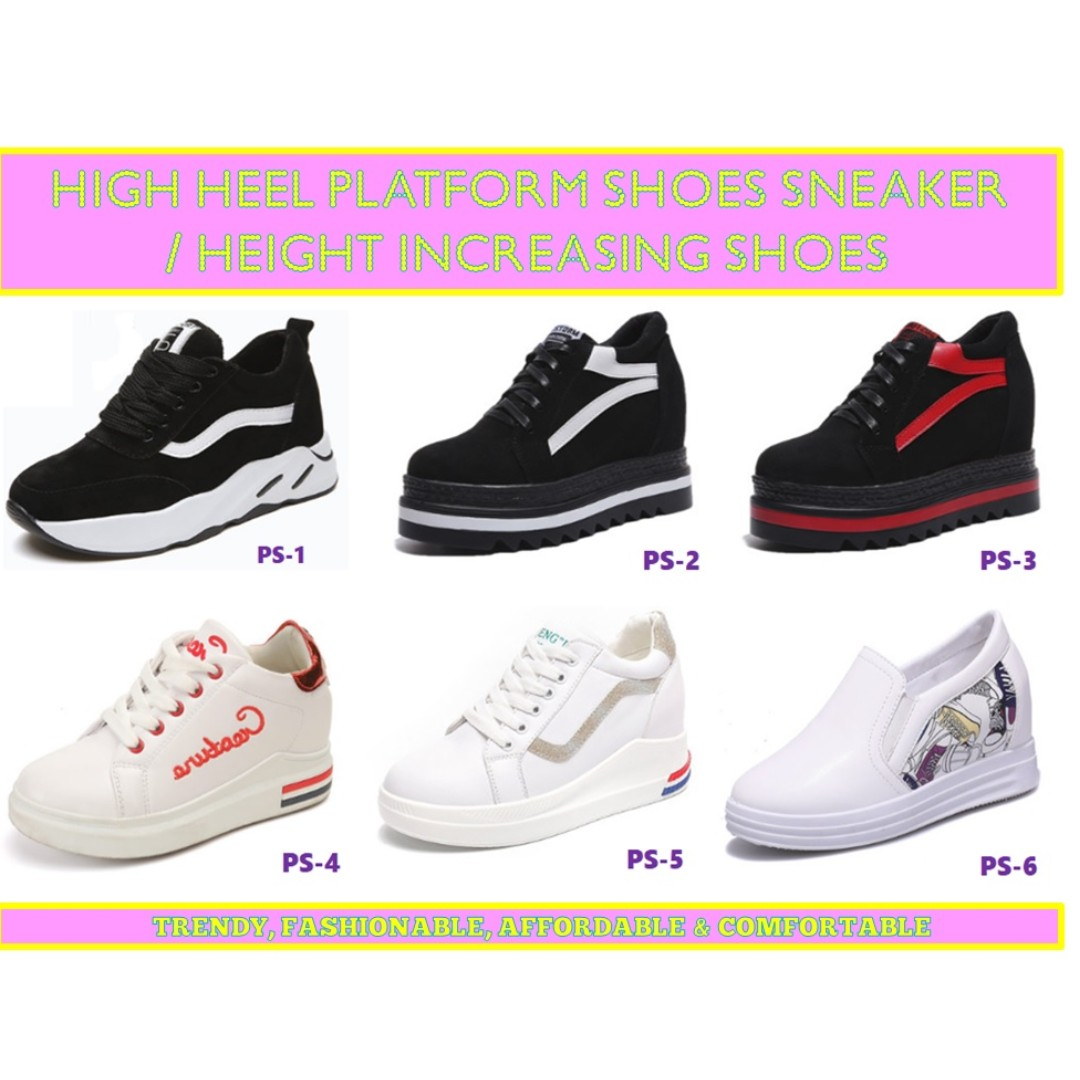 0ee62d3923 Platform Shoes/ High Heel shoes/sneaker/ Korea style Height Increasing high  heel sneakers- Free Delivery, Women's Fashion, Shoes, Sneakers on Carousell
