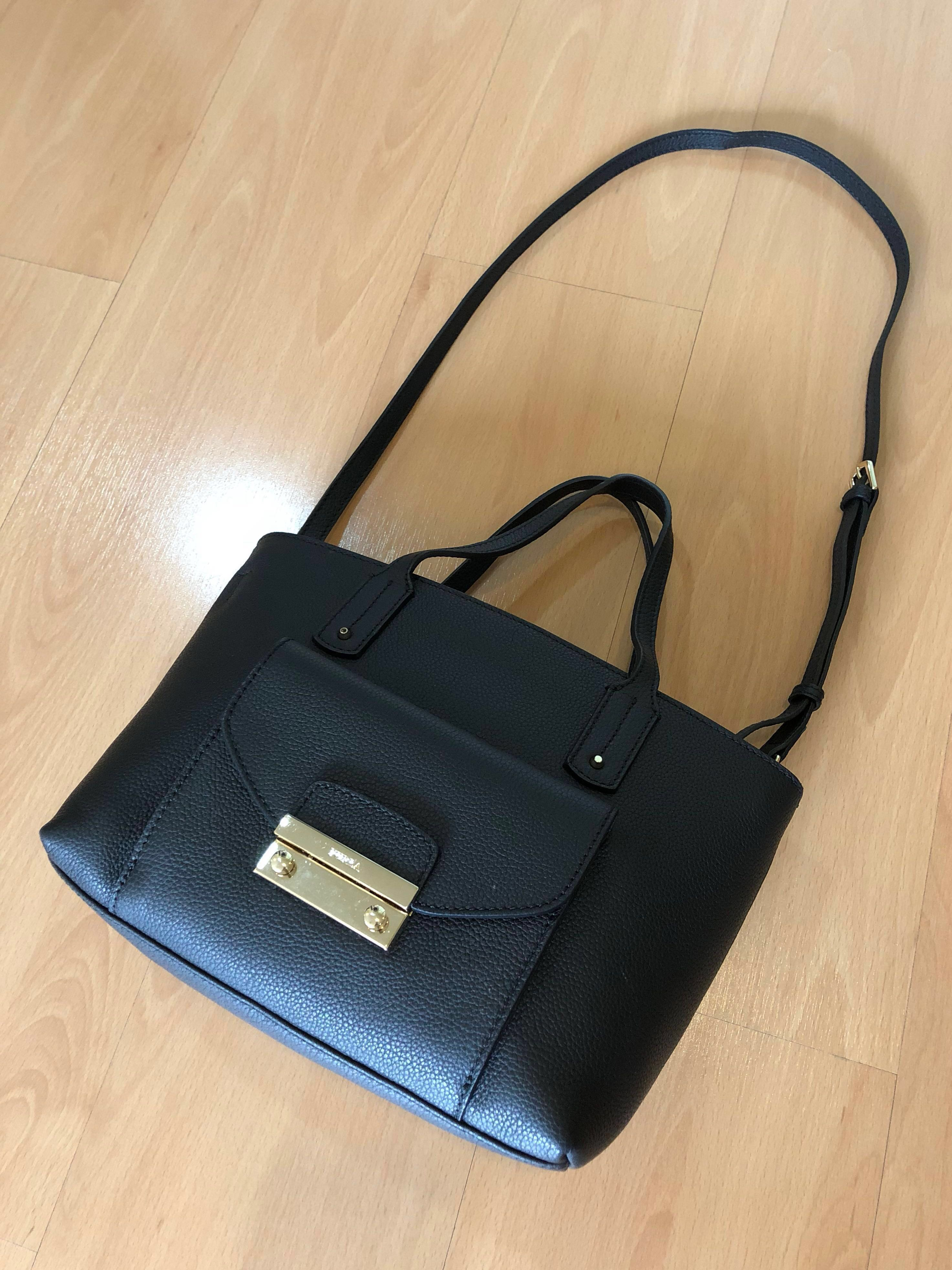 f089e536504 Reduced💥Authentic Furla leather tote Black , Women s Fashion, Bags    Wallets on Carousell