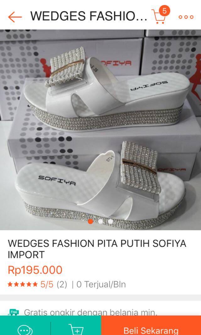 Sandal sepatu wedges sofiya import mewah putih 11f4ba3752