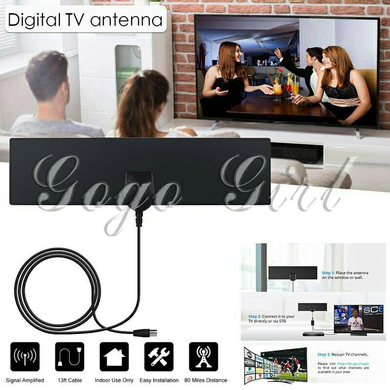 Signal Amplifier Indoor HDTV Antenna 1080P UHF VHF TV Signal Receiver