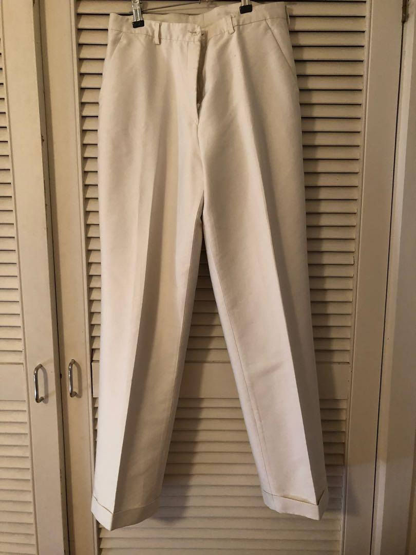 Tailored white silk pants.