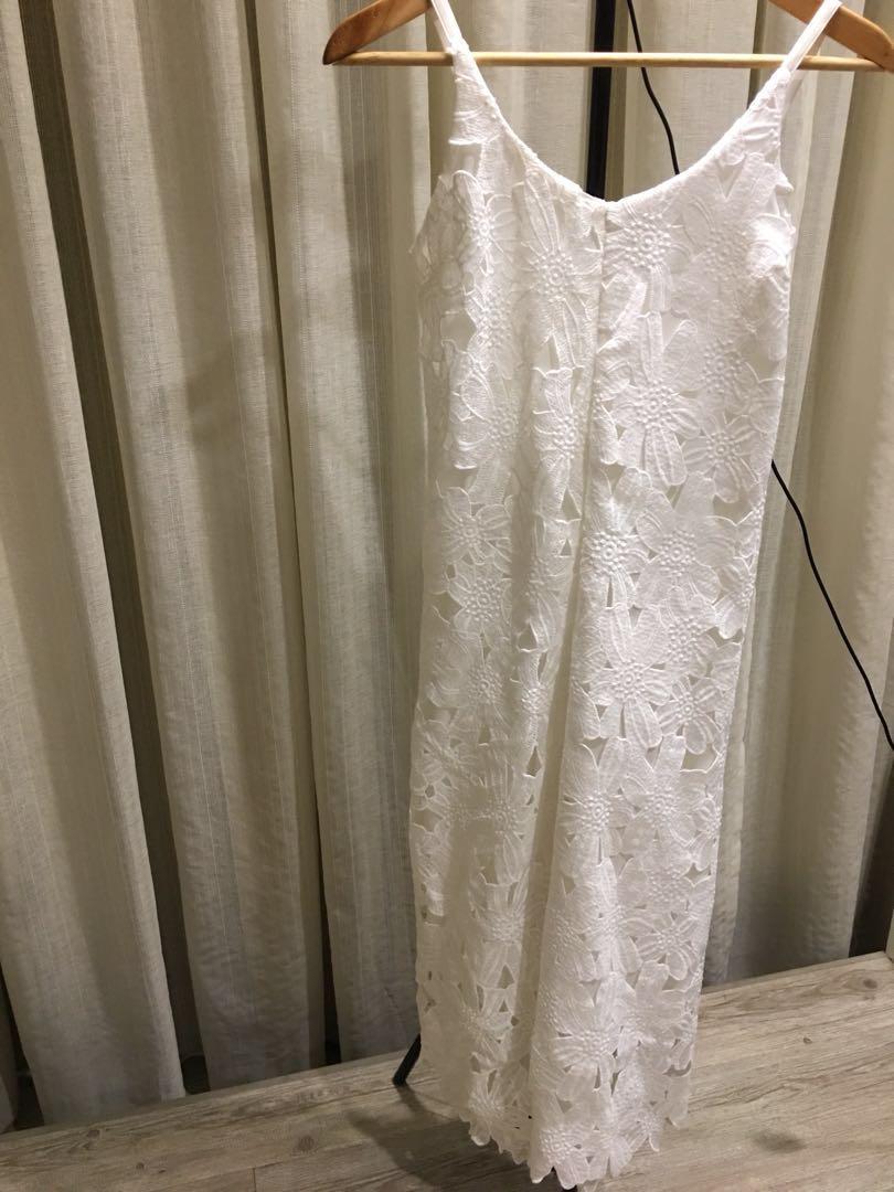 White Lace Long Pants Jumpsuit