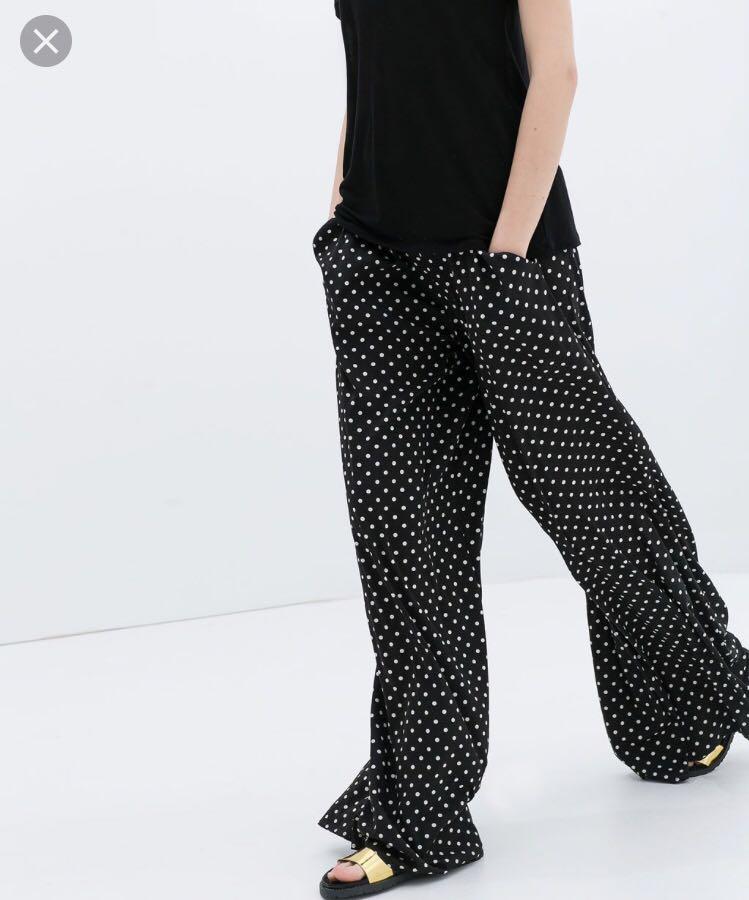 bd7fca58 Zara Polka Dot Wide Leg Pants, Women's Fashion, Clothes, Pants ...