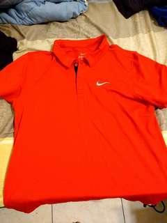 Nike drifit polo衫 橘紅  L號