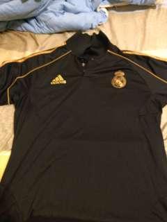 Adidas 黑polo 足球衫 XL