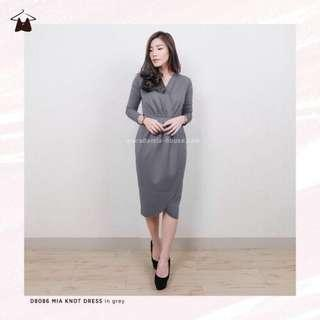 Mia Knot Dress Grey (Macadamia house)