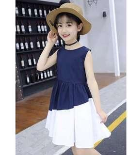 Instock colour block girl's dress with free hat