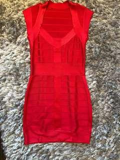 Fcuk Bodycon Red Dress - medium
