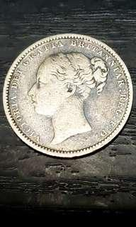 Queen Vitoria Silver Shilling Year 1883