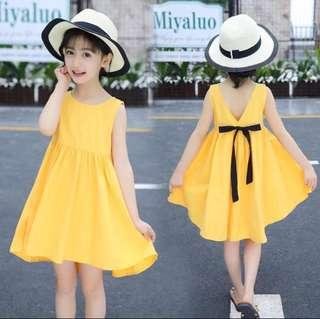 Instock Sleeveless Girl's dress with black ribbon
