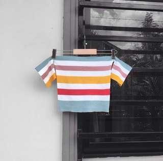 Knit stripes offshoulder top