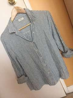 Blue and white strip loose fit blouse