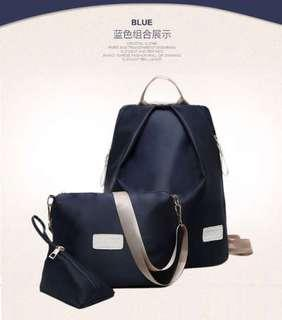 Set of 3 Navy Backpack Sling bag Triangle Pouch