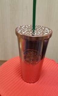 STARBUCKS 玫瑰金冷飲杯
