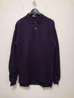 伏見古著 Polo 綠小馬 紫色長袖Polo衫 vintage 復古