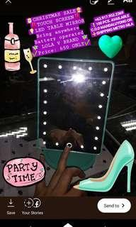 Touchscreen LED table vanity make-up mirror Lola V christmas gift kikay must have battery operated