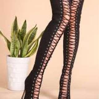 Thigh high lace up heels size 10 worn once