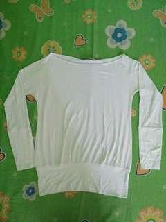 White Stretchable Long-sleeved Top
