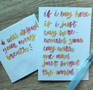 Calligraphy and birthday cards 🥰