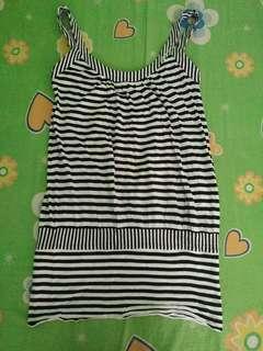 Black and White Horizontal Striped Sleeveless Top