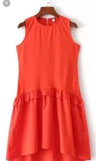Orange red Mermaid flare dress