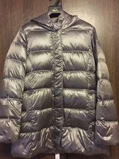 Hooded winter down coat( Metallic silver)