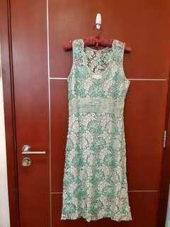 **Exquisite Beaded Floral Leaf Lace Tea Party Dress in Turqoise Green