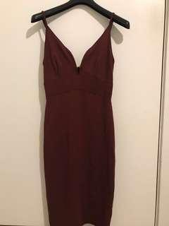Maroon low v neck dress